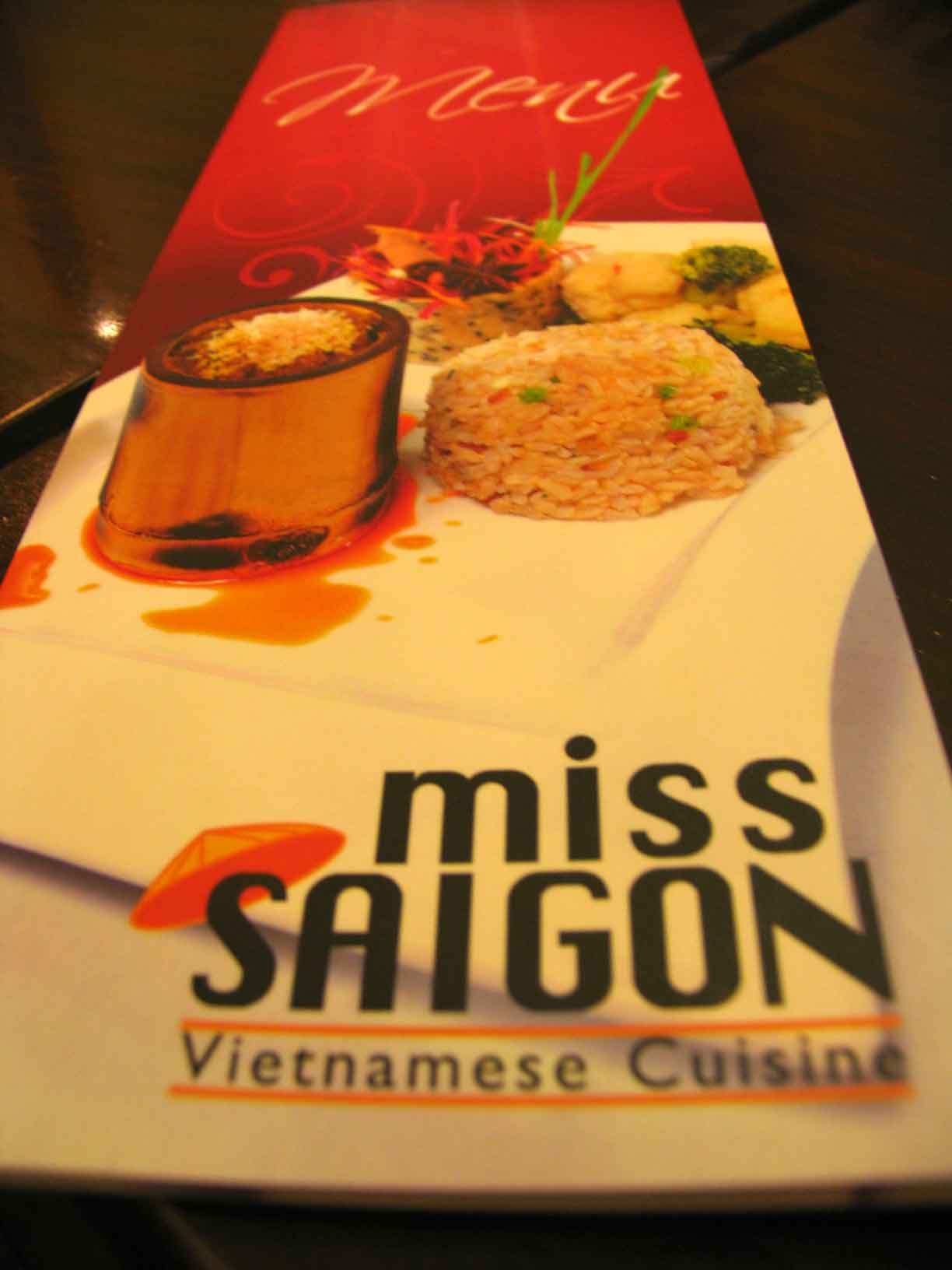 Miss Saigon menu
